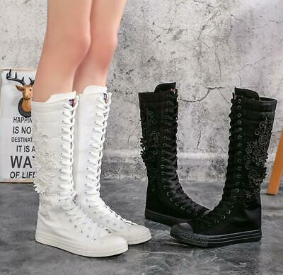 Womens Girls Flowers Canvas Knee High Trainers Zip Boots Punk Goth Dance Shoes
