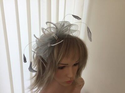 Pale Grey  Crin And Feather Fascinator On Hairband, Can Be Custom Made To Match
