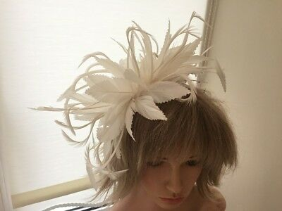 Ivory   Feather  Fascinator-Hat Wedding,Ascot,Accessories, Custom Made