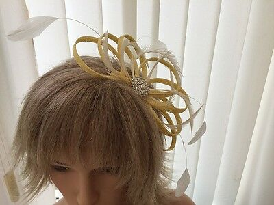 Yellow &  Ivory  Sinamay &  Feather Fascinator, Weddings, Can Be Custom Made