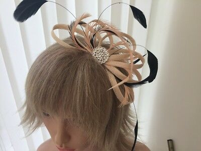 Peach / Apricot  And Black  Sinamay/ Feather Fascinator, Can Be Custom Made,