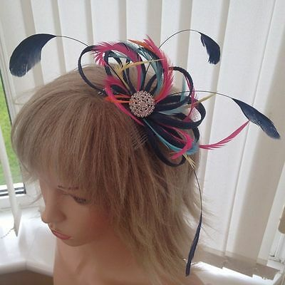 Navy Multicoloured  Sinamay &  Feather Fascinator,, Can Be Custom Made, Races,