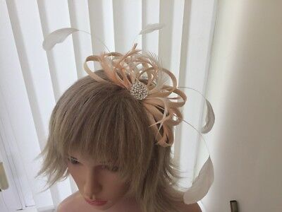 Peach / Apricot  And Ivory  Sinamay/ Feather Fascinator, Can Be Custom Made,
