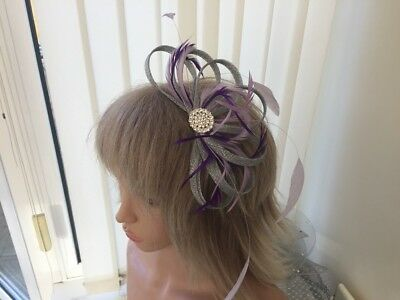 Silver, Lilac & Purple Sinamay & Feather Fascinator Can Be Custom Made