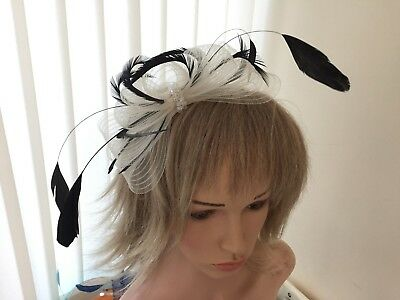 Ivory & Black  Crin & Feather Fascinator On Hairband, Can Be Custom Made