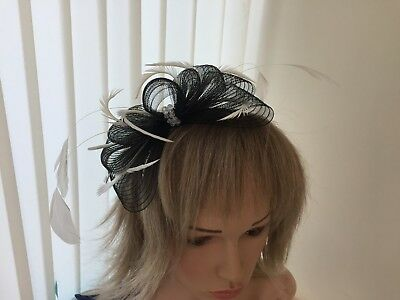 Black & Ivory  Crin & Feather Fascinator On Hairband, Can Be Custom Made