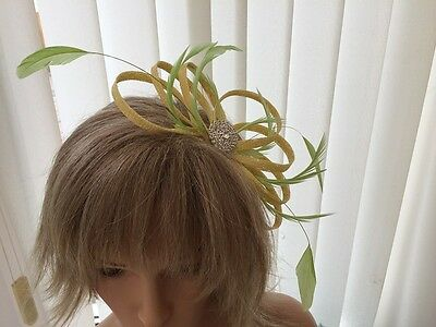 Yellow & Lime Green  Sinamay &  Feather Fascinator, Weddings, Can Be Custom Made