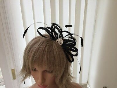 Black Sinamay/ Feather Fascinator, Can Be Custom Made To Match Outfit, Weddings