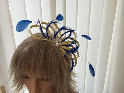 Yellow & Cobalt  Sinamay &  Feather Fascinator,  Weddings, Can Be Custom Made