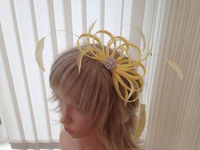 Yellow   Sinamay &  Feather Fascinator,, Can Be Custom Made, Races, Weddings