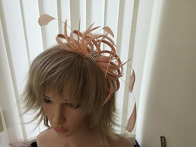 Peach / Apricot  Sinamay/ Feather Fascinator, Can Be Custom Made,