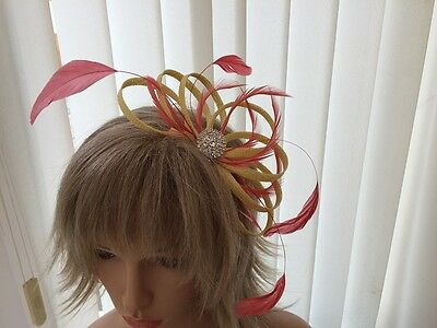 Yellow & Coral  Sinamay &  Feather Fascinator,  Weddings, Can Be Custom Made