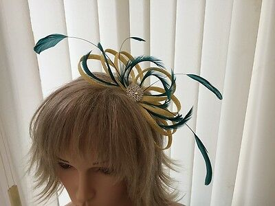 Yellow & Teal  Green   Sinamay &  Feather Fascinator, Can Be Custom Made