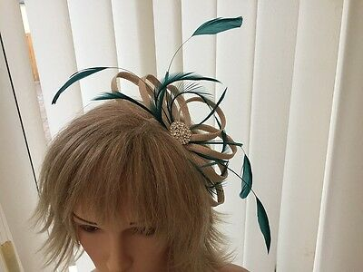 Champagne & Teal  Sinamay And Feather Fascinator,  Can Be Custom Made
