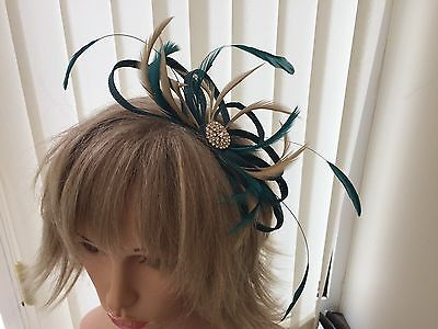 Teal & Gold  Sinamay And Feather Fascinator Can Be Made To Match Outfit Wedding