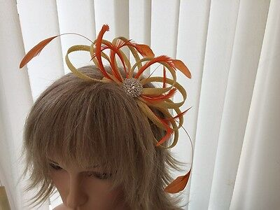 Yellow & Orange  Sinamay &  Feather Fascinator,  Weddings, Can Be Custom Made