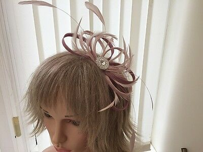 Nude Pink & Dusky Pink  Sinamay/ Feather Fascinator  Can Be Custom Made