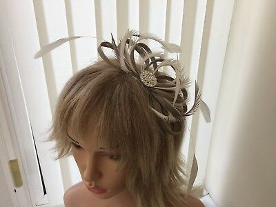 Taupe & Ivory Sinamay And Feather Fascinator, Can Be Custom Made To Match Outfit