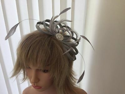 Silver Grey  Sinamay & Feather Fascinator ,Can Be Custom Made To Match Dress