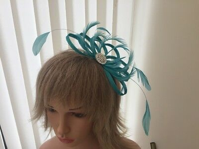 Turquoise sinamay &feather fascinator,weddings,CAN BE CUSTOM MADE TO MATCH DRESS