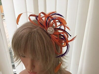 Orange & Purple  Sinamay & Feather Fascinator Can Be Custom Made To Match Outfit