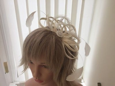Ivory Sinamay & Feather Fascinator Weddings ,Can Be Custom Made To Match Dress