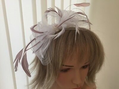 White & Dusky Pink  Crin And Feather Fascinator On Hairband, Can Be Custom Made