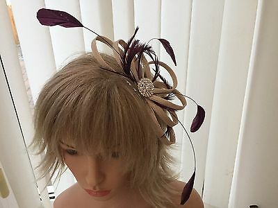 Champaigne & Aubergine  & Feather Fascinator Can Be  Made To Match Outfit