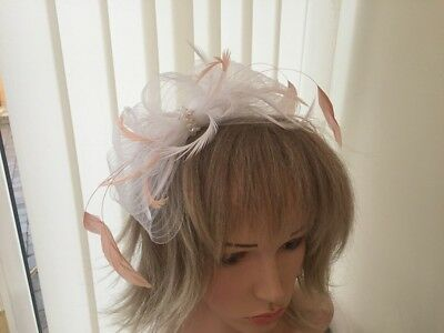 White & Peach  Crin And Feather Fascinator On Hairband, Can Be Custom Made