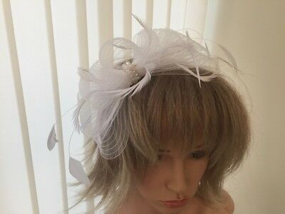 White  Crin And Feather Fascinator On Hairband,  Can Be Custom Made To Match