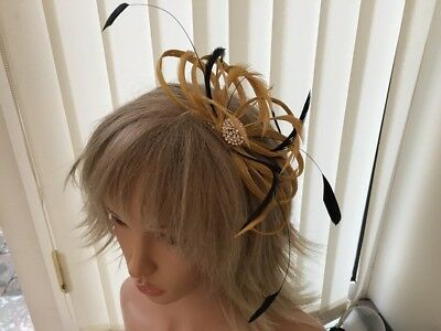 Mustard & Black   Sinamay &  Feather Fascinator,   Can Be Custom Made