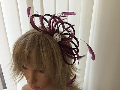 Amethyst  Sinamay And Feather Fascinator,  Can Be Custom Made To Match Outfit