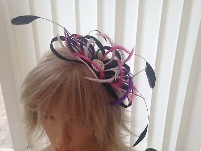 Black Multi Coloured  Sinamay/ Feather Fascinator, Can Be Custom Made,, Weddings