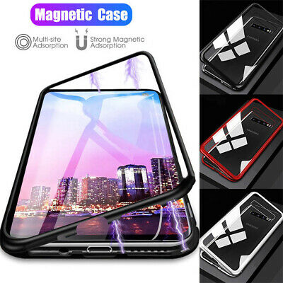 For Samsung Galaxy S10 S9 S8 Magnetic Adsorption Metal Tempered Glass Case Cover