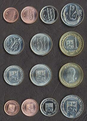 VENEZUELA FULL COIN SET 1+5+10+12.5+25+50 Centimos 1 Bolivar 2007-2012 UNC LOT 7