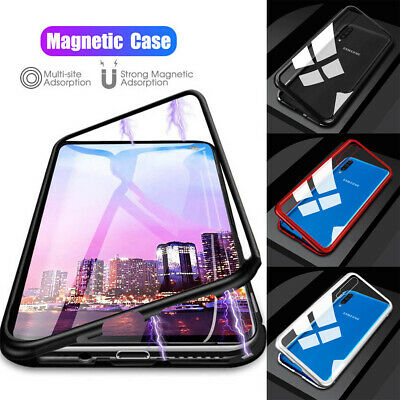 For Samsung A70 A50 A40 A20E Magnetic Adsorption Metal Tempered Glass Case Cover