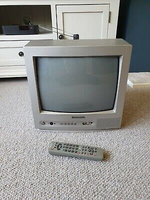 Vintage Panasonic TX-14JT1 Colour TV CRT Retro Gaming Silver With Remote Control