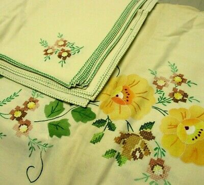 Vintage Ivory Tablecloth Oval 12 Napkin Set Cross Stitch Embroidered Flowers
