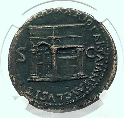 NERO Authentic Ancient ROME Sestertius 65AD Roman Coin w JANUS TEMPLE NGC i78890