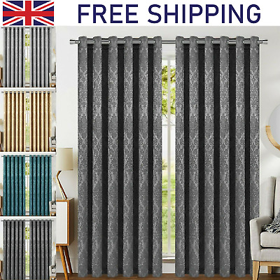 Pair Of Thermal Insulated Blackout Curtains Ready Made Eyelet Ring Top Curtain