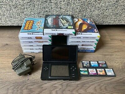 Nintendo DS Lite Black Handheld System & Games Bundle- x18 Games- With Charger