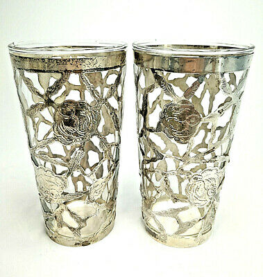 2 VTG Mexican Drinking Glass Floral 925 Sterling Silver Cage TAXCO? not scrap