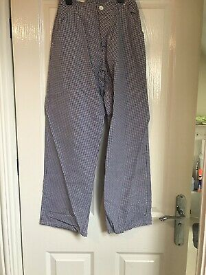 """Two Pairs Ladies CHEF TROUSERS Waist 26"""" Blue & White Small Checked Chef Bundle"""