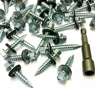 50 x 6.3mm SELF DRILLING * 14g x 75mm CORRUGATED TIMBER TEK ROOFING SCREWS