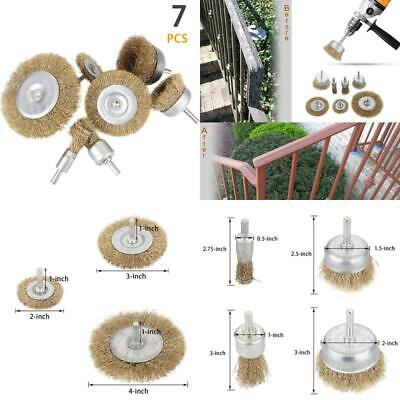 Abuff 7 Pcs Of Wire Brush Kit For Drill, Including Brass Coated Wire End Brush,