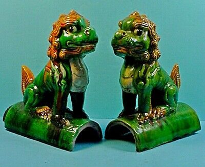 Pair Antique Chinese Tang Dynasty Style Pottery Sancai Glazed Foo Dog Roof Tiles