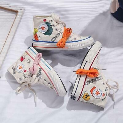 New Womens Girls Graffiti Canvas Hi Tops Boots Lace Up Pumps High Tops Trainers
