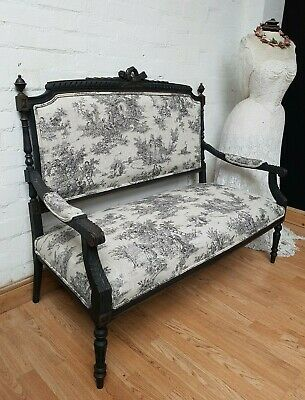 Stylish Ornate Antique French Carved Upholstered Settle - C1900