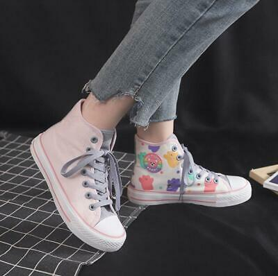 Womens Girls Rainbow Canvas Hi Tops Boots Pumps High Tops Trainers Skate Shoes