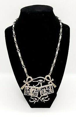 Antique Heavy Egyptian Revival Sterling  Ankh Eye Of Horus Hieroglyph Necklace